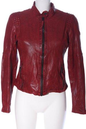 Gipsy Lederjacke rot Streifenmuster Casual-Look