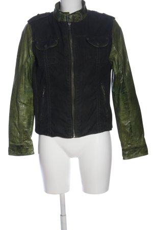 Gipsy Lederjacke schwarz-grün Casual-Look