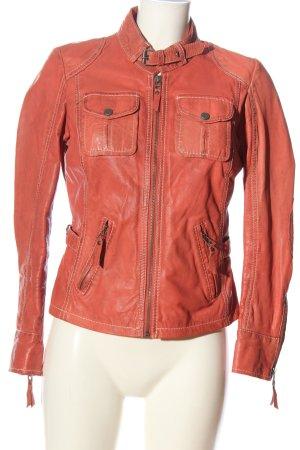 Gipsy Veste en cuir rouge style décontracté