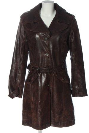 Gipsy Manteau en cuir brun style décontracté