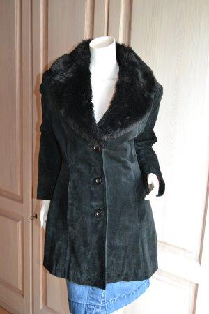 Gipsy Abrigo de cuero negro Gamuza