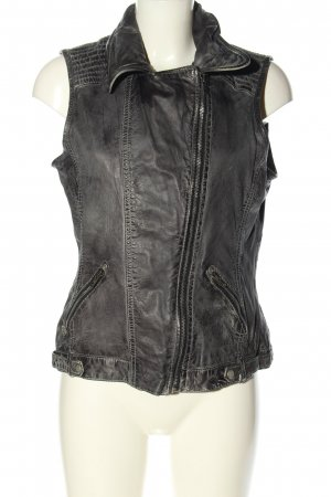 Gipsy Gilet en cuir noir style décontracté