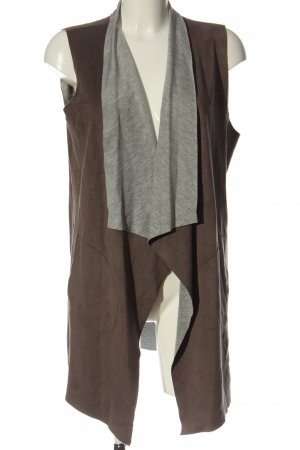 Gipsy Long Knitted Vest brown-light grey flecked casual look