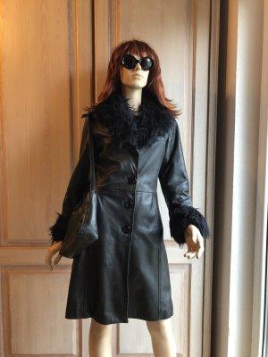 Gipsy Vintage Ledermantel Mantel Jacke echt Vintage Leder schwarz S