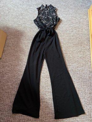 Girl in mind Schlag Jumpsuit Marlene Stil schwarz beige Spitzenlook Gr. 38