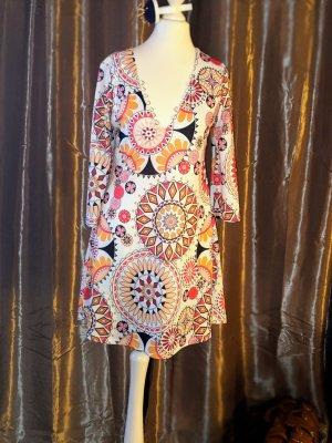 Jaune Rouge Robe Hippie multicolore