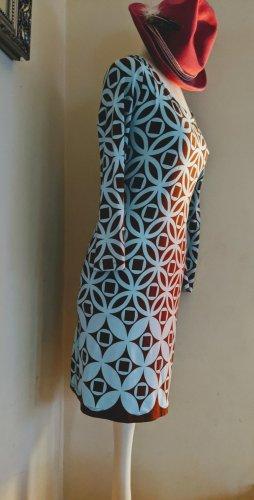 Vestido elástico marrón-azul claro