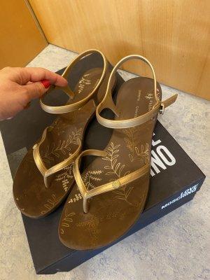 Sandalo toe-post oro-marrone