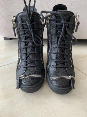 Giuseppe Zanotti Sneaker con zeppa nero-argento