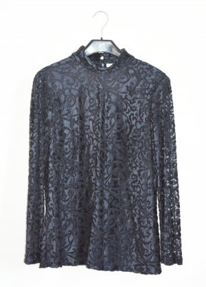 Givenchy Bluse Oberteil samt Spiitze Langarm Top Vintage Graublau schwarz 40 M