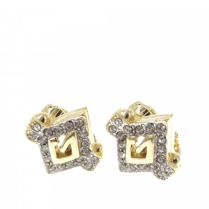 Givenchy G Logo Rhinestone Earrings