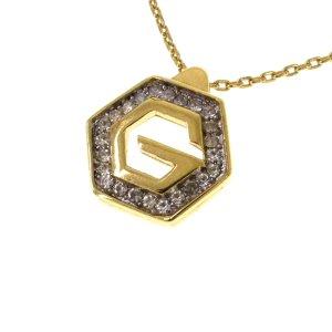 Givenchy Hexagon G Logo Rhinestone Pendant Necklace