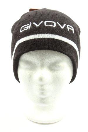 givova Chapeau en tricot noir-blanc lettrage imprimé style décontracté