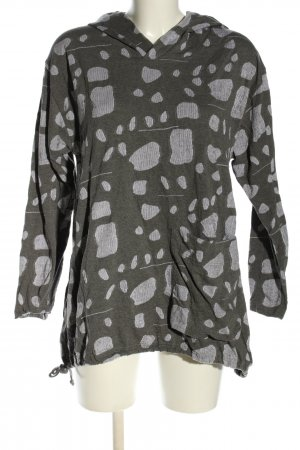 GIX Shirt met capuchon khaki-lichtgrijs volledige print casual uitstraling