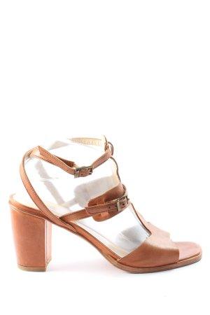 GKM Sandalo con tacco alto e lacci a T marrone stile casual