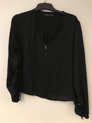 Glänzende Bluse schwarz mit Reißverschluss Gr. M