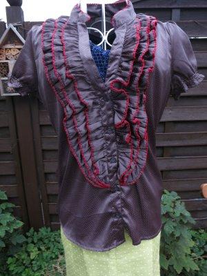 glänzende graue Rüschen-Bluse mit roten Punkten Gr 36/38