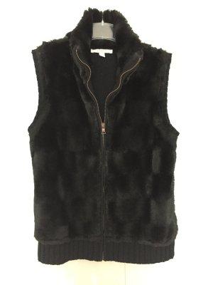 Glänzende Kunstfell-Strick-Weste in schwarz von Esprit