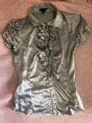 Mango Short Sleeved Blouse silver-colored polyester