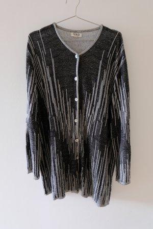 glänzende Strickjacke schwarz und silberfarben