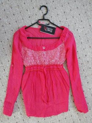 Glanzende blouse roze