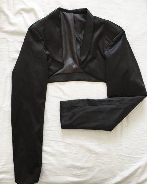 Glänzender, schwarzer Bolero / Kurzjacke NEU mit leichten Schulterpolstern
