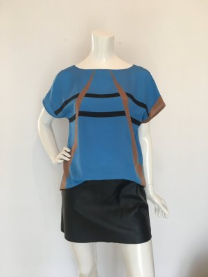 Gläser blau Retro geometrisch Linien Striche braun camel Cognac schwarz Kimonoärmel kurzärmlig schlupfbluse top Oberteil Shirt Bluse mattglänzend cool Mistgabel graphik