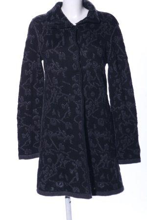Glam Abrigo de punto negro estampado con diseño abstracto estilo «business»