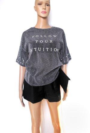 Glammer T-Shirt mit Perlen&Schriftzug Gr.S