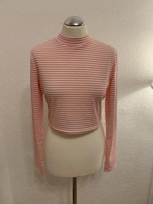 Glamorous Camisa acanalada blanco-rosa claro