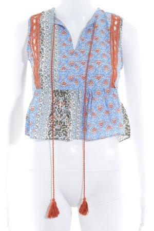 Glamorous A-Linien Top himmelblau-dunkelorange abstraktes Muster Boho-Look