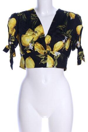 Glamorous Cropped Shirt schwarz-blassgelb Allover-Druck Casual-Look
