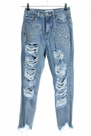 Glamorous High Waist Jeans blau abstraktes Muster Casual-Look
