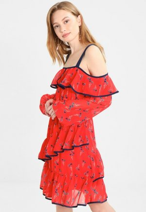 Glamorous Off-The-Shoulder Dress red-dark blue