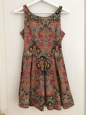 Glamorous Kleid Mini Minikleid Skaterkleid Bunt Paisley Rot Orange Grün Blau XS 34