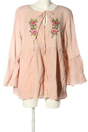 Glamorous Langarm-Bluse nude Blumenmuster Casual-Look
