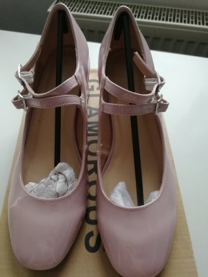 Glamorous Mary Jane Dusty Pink Patent Mid Heeled Shoes
