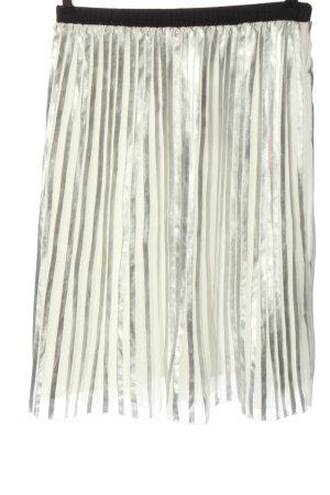 Glamorous Plisseerock silberfarben-wollweiß Streifenmuster Glanz-Optik