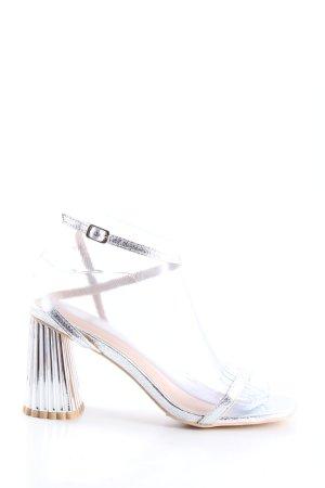 Glamorous Sandales à talons hauts et lanière argenté style décontracté