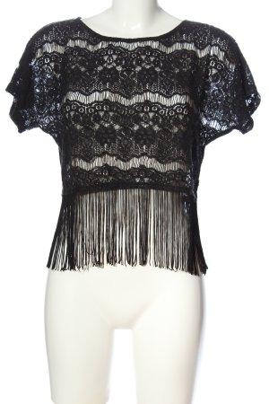 Glamorous Kanten topje zwart Webpatroon casual uitstraling