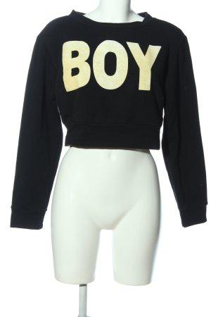 Glamorous Sweatshirt schwarz-blassgelb Schriftzug gedruckt Casual-Look