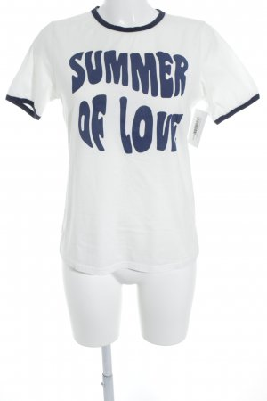 Glamorous T-Shirt weiß-dunkelblau Motivdruck Casual-Look