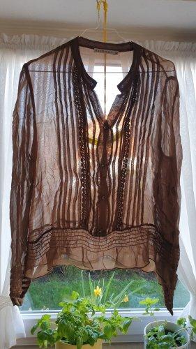 GLAMOUR transparent Gr. 42 / large KOOKAI edel cognac seidig SPITZE Rüschen Paspel QUALITÄT luxuriös DESIGN luftig leicht
