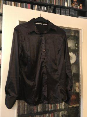 Glanz-Bluse Stretch (Polyester/Spandex) mokkafarben/schwarz-braun Grösse XL (für mich eher M/L) von Zara - selten getragen