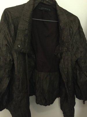 Zara Woman Chaqueta tipo blusa marrón-negro