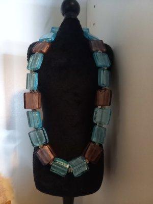 Lederen armband mauve-turkoois