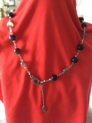 Glasperlenkette, Handarbeit, grau, blau 46 cm