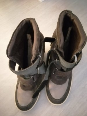 Glattleder und  Mix Wedges Sneaker in grau/dunkelgrau Tönen