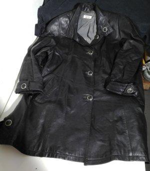 Abrigo de cuero negro Cuero
