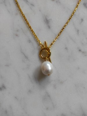 Gliederkette mit Süßwasser Perle 925 Sterling Silber vergoldet Kette
